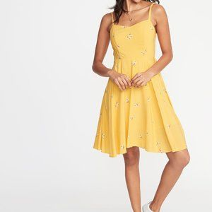Beautiful Summer Yellow Dress Fit and Flare